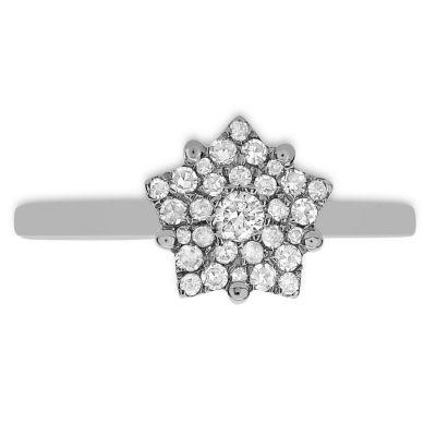 Womens 1/4 CT. T.W. White Diamond 14K White Gold Cluster Ring