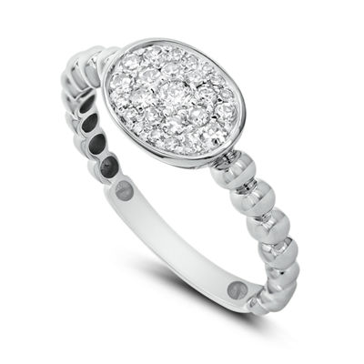Womens 1/3 CT. T.W. White Diamond 14K White Gold Cluster Ring