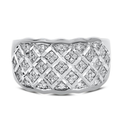 Womens 4mm 1/3 CT. T.W. White Diamond 14K White Gold Band
