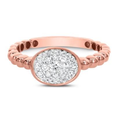 Womens 1/3 CT. T.W. White Diamond 14K Rose Gold Cluster Ring