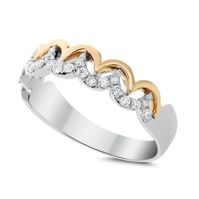 Womens 3.5mm 1/3 CT. T.W. White Diamond 14K Two Tone Gold Band