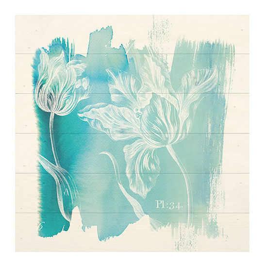 Blue Flowers Water Wash Wall Sign
