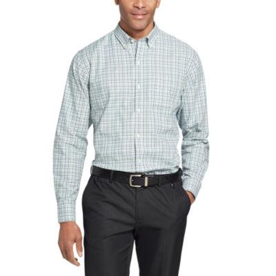 Van Heusen Long Sleeve Grid Button-Front Shirt-Slim