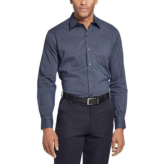 Van Heusen Van Heusen Traveler Long Sleeve Slim Stretch Shirt Mens Long Sleeve Checked Button-Front Shirt Slim