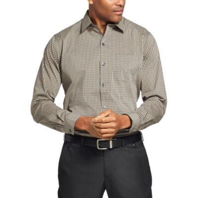 Van Heusen Van Heusen Traveler Long Sleeve Slim Stretch Shirt Long Sleeve Grid Button-Front Shirt-Slim