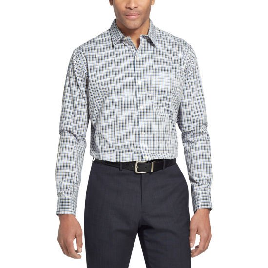 Van Heusen Van Heusen Traveler Long Sleeve Slim Stretch Shirt Long Sleeve Plaid Button-Front Shirt-Slim