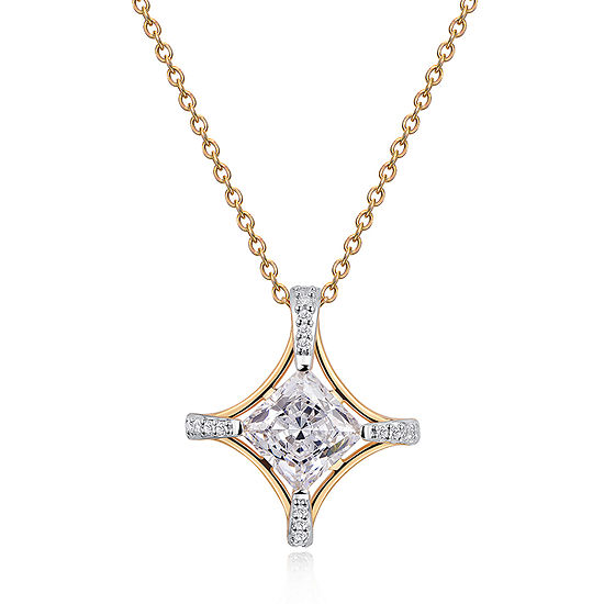 Womens 2 1/5 CT. T.W. Cubic Zirconia 18K Gold Over Silver Diamond Pendant Necklace