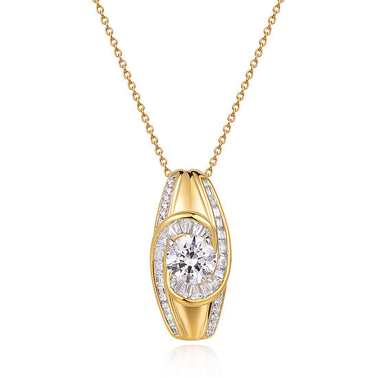 Womens 3 CT. T.W. Cubic Zirconia 18K Gold Over Silver Oval Pendant Necklace