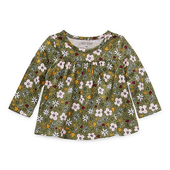 Okie Dokie Baby Girls Round Neck Long Sleeve Blouse