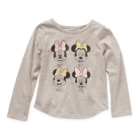 Okie Dokie Toddler Girls Crew Neck Minnie Mouse Long Sleeve Graphic T-Shirt, 4t , Gray