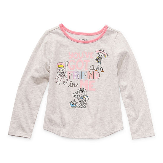 Okie Dokie Toddler Girls Crew Neck Toy Story Long Sleeve Graphic T-Shirt