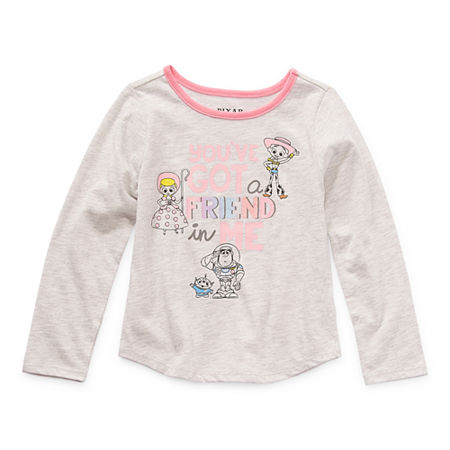 Okie Dokie Toddler Girls Crew Neck Toy Story Long Sleeve Graphic T-Shirt, 5t , Gray