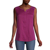 Deals on St. John's Bay Womens Split Crew Neck Sleeveless Blouse