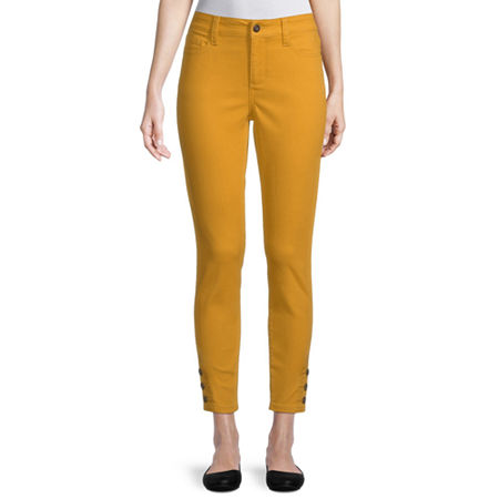St. John's Bay Womens Mid Rise Skinny Fit Jean, 10 , Yellow