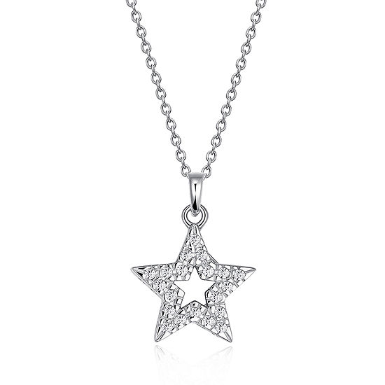 Womens 1/5 CT. T.W. Cubic Zirconia Sterling Silver Star Pendant Necklace