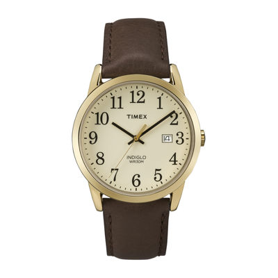 Timex® Easy Reader Mens Brown Leather Strap Watch TW2P75800