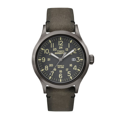 Timex® Expedition® Mens Gray Leather Strap Watch TW4B01700