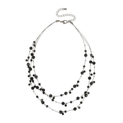 Mixit™ Black Bead 3-Row Layered-Look Illusion Necklace