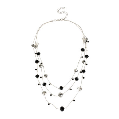 Mixit™ Black and Silver-Tone Bead 3-Row Layered-Look Illusion Necklace