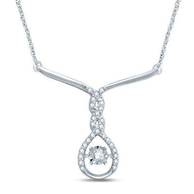 Love in Motion™ 1/5 CT. T.W. Diamond Sterling Silver Necklace