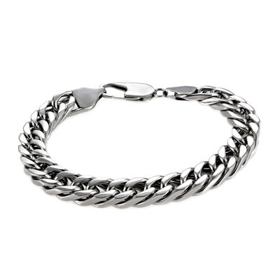 "Mens Stainless Steel 9"" 9mm Flat Curb Chain Bracelet"