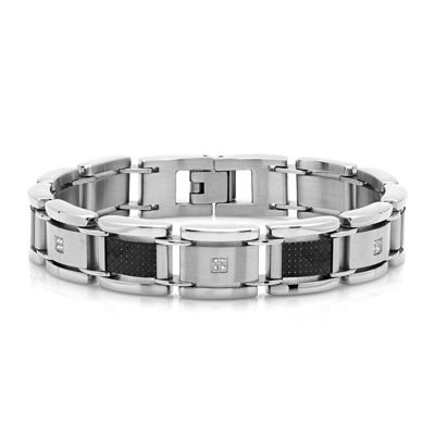Mens 1/10 CT. T.W. Diamond Stainless Steel and Black Carbon Fiber Link Bracelet