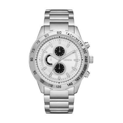 Geneva Mens Silver Tone Bracelet Watch-Fmdjm549