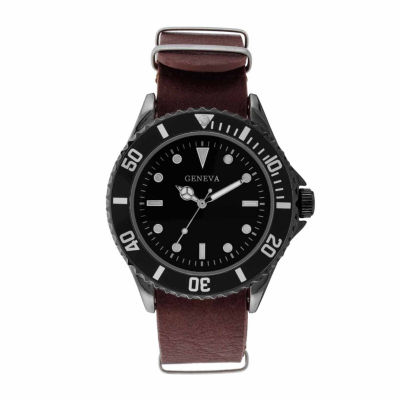 Geneva Mens Brown and Silver-Tone Strap Watch