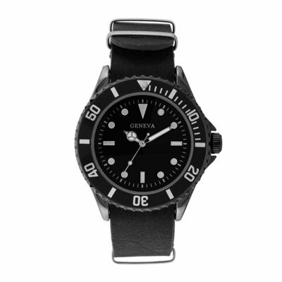 Geneva Mens Black Strap Watch