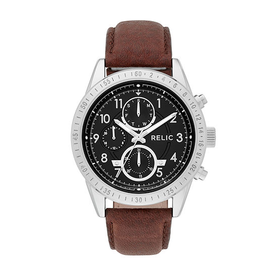 Relic By Fossil Mens Multi-Function Brown Strap Watch-Zr15863
