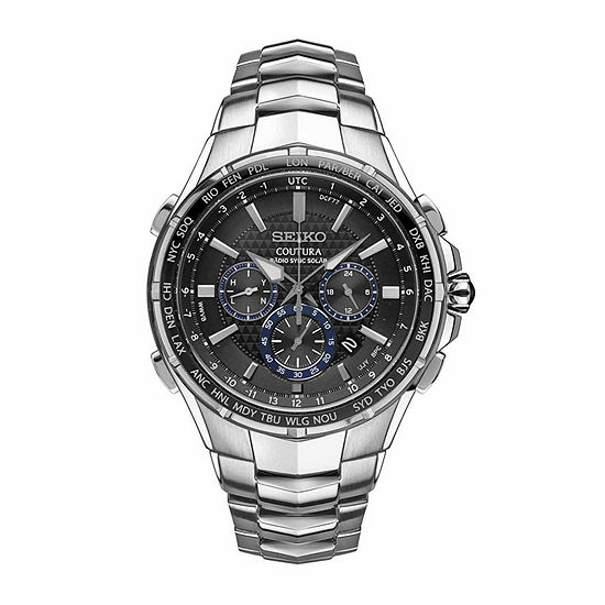 Seiko Mens Chronograph Silver Tone Stainless Steel Bracelet Watch-Ssg009