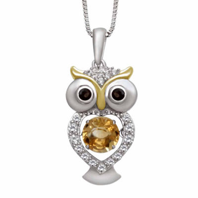 Simulated Citrine & Cubic Zirconia Sterling Silver Pendant