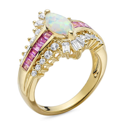 Lab-Created Opal and Pink & White Lab-Created Sapphire 14K Gold Over Silver Cocktail Ring
