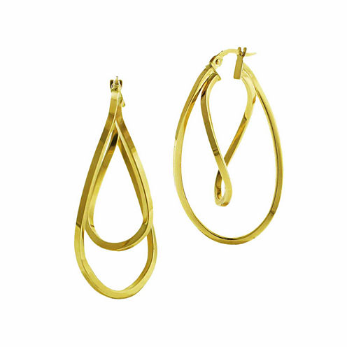 14K Yellow Gold Twisted Double Hoop Earrings