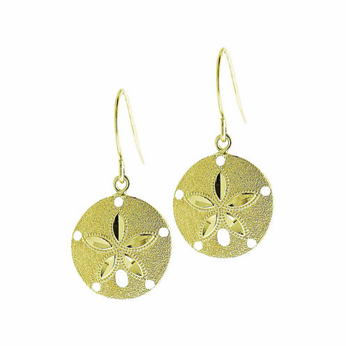 10K Yellow Gold Sand Dollar Drop Earrings