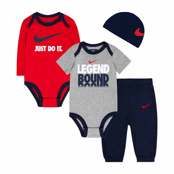 Nike® 4-pc. Obsidian Legend Logo Bodysuit Set - Baby Boys newborn-