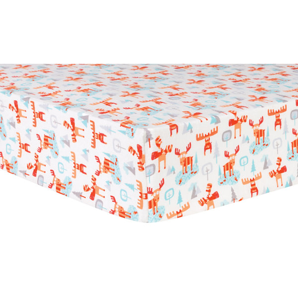 Trend Lab Winter Moose Flannel  Crib Sheet