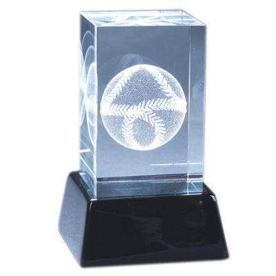 Natico Crystal 3-D Baseball Sculpture and Base
