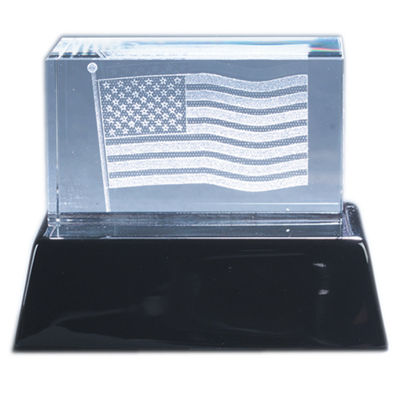 Natico Crystal 3-D American Flag Sculpture and Base