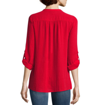 a.n.a® Long-Sleeve Tab Up Shirred-Shoulder Popover