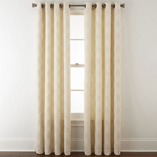 JCPenney Home Teagan Light-Filtering Grommet-Top Single Curtain Panel