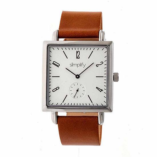 Simplify Mens Brown Leather Strap Watch-Sim5003