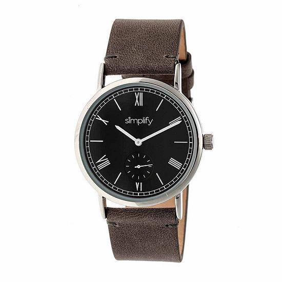 Simplify Mens Gray Strap Watch Sim5104