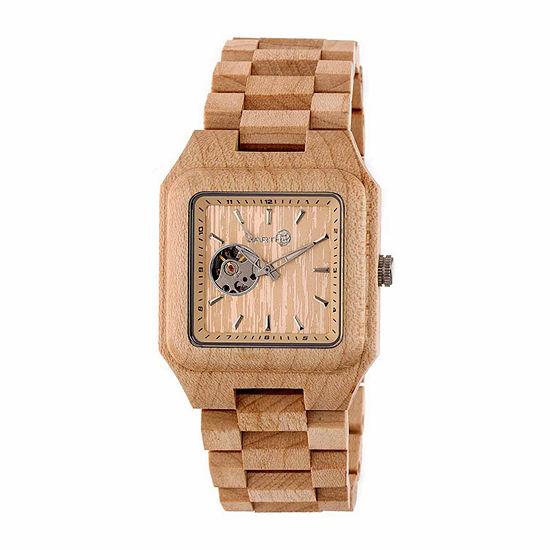Earth Wood Black Rock Unisex Brown Automatic Bracelet Watch-Ethew4401