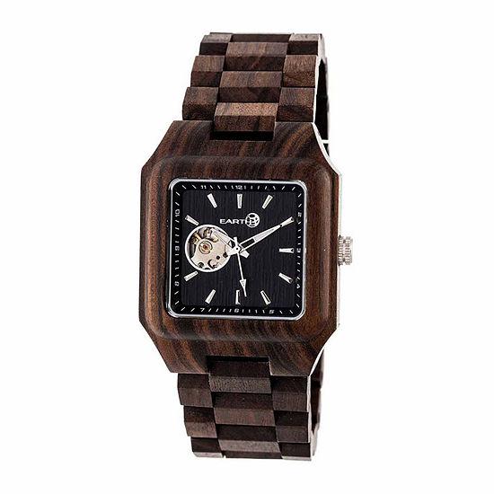 Earth Wood Black Rock Unisex Adult Automatic Brown Bracelet Watch-Ethew4402