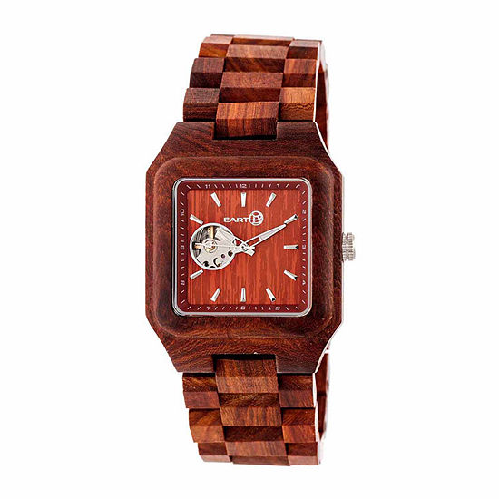 Earth Wood Black Rock Unisex Adult Automatic Red Bracelet Watch-Ethew4403