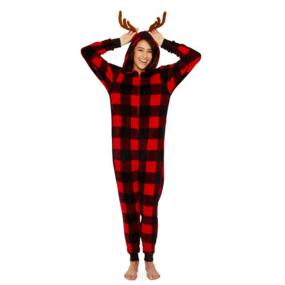 Buffalo Check with Antlers Long Sleeve One Piece Pajama