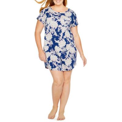 Liz Claibornes Short Sleeve Sleepshirt-Plus