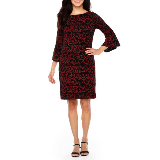Jessica Howard 3/4 Sleeve Scroll Shift Dress