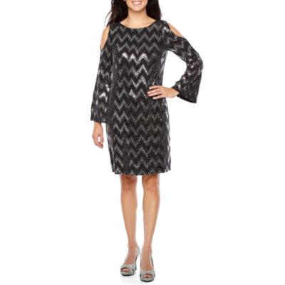 Jessica Howard Long Sleeve Chevron Shift Dress